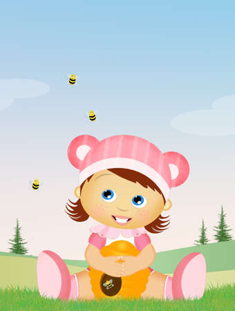baby: baby in the grass with bees