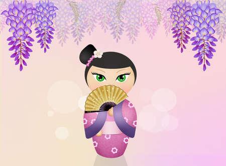 Kokeshi doll and wisteria flowers
