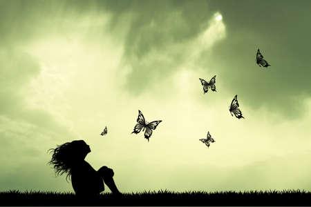 girl and butterflies