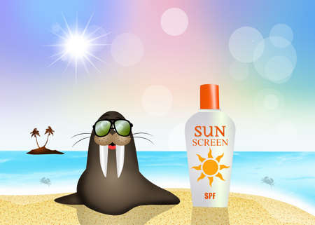 sun lotion: walrus with sun lotion