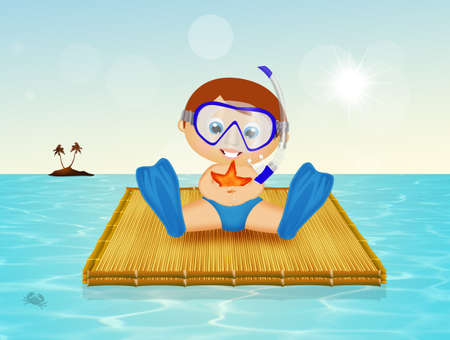 baby with scuba mask on raft Stock Photo