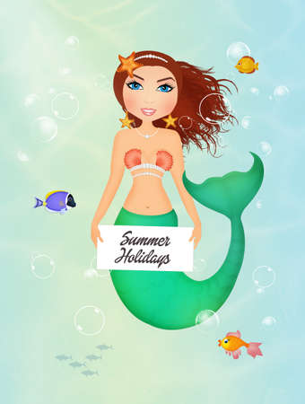 funny siren with card Stock Photo