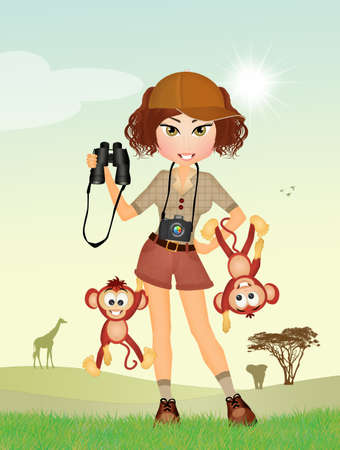 spiteful: funny illustration of girl in the zoo with monkeys