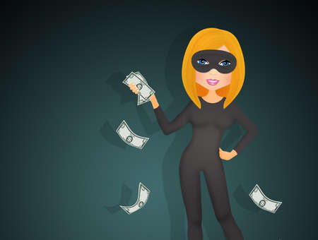 stealthy: funny thief girl Stock Photo
