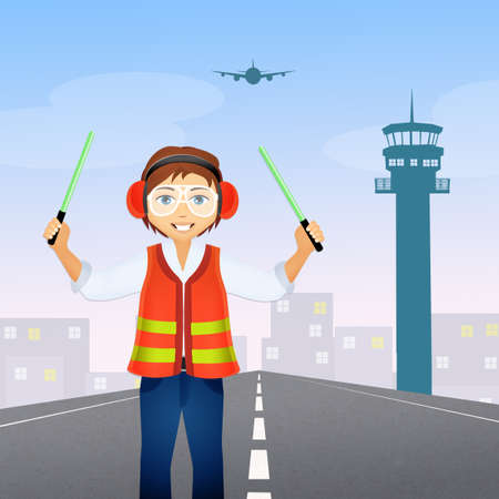 Airport worker at control tower Stock Photo - 75199565