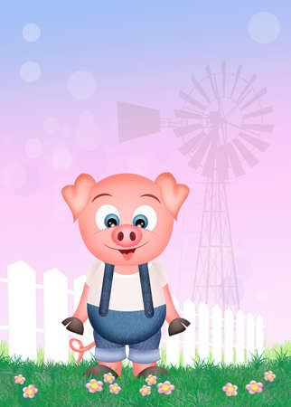pigsty: pig in the farm Stock Photo