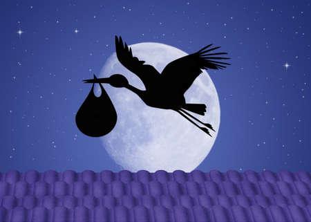 아기 실루엣 황새