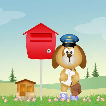 cute dog postman Фото со стока