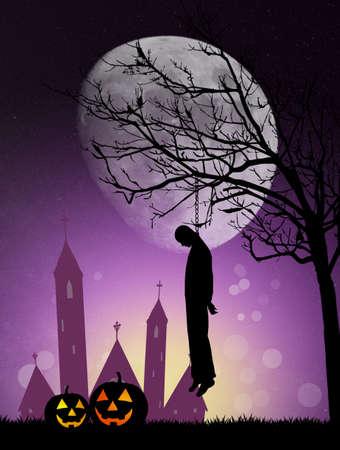 hanged: Hanged man on Halloween Stock Photo