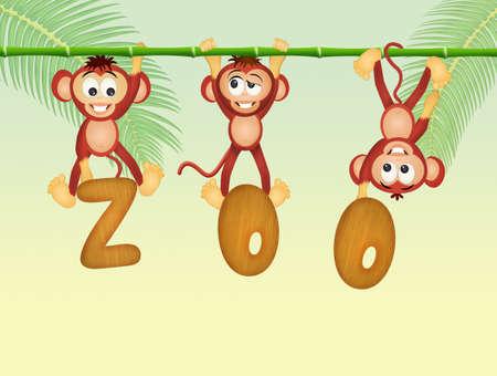 liana: monkeys in the zoo Stock Photo