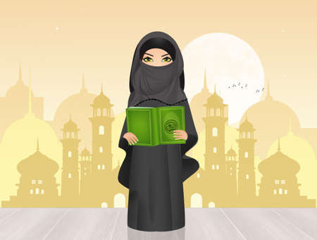 Muslim girl with Islams holy book the Koran