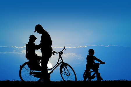 Silhouette of bicycle people