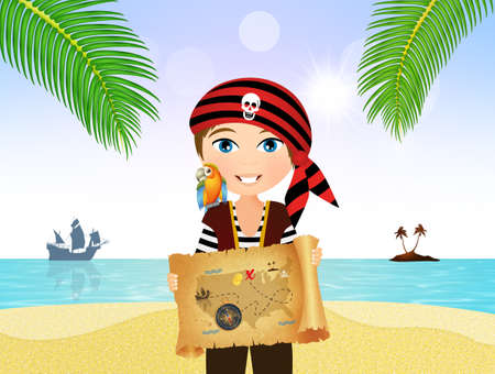 pirate child with treasure map on parchment Stock Photo