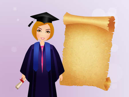 graduate girl with parchment