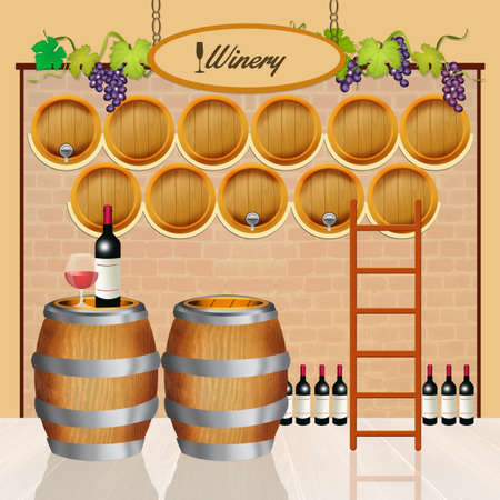 illustration of wine barrels