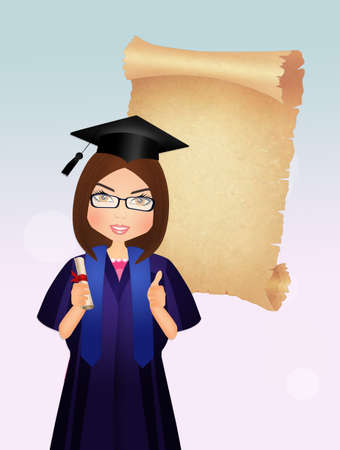 girl graduate with parchment Stock Photo