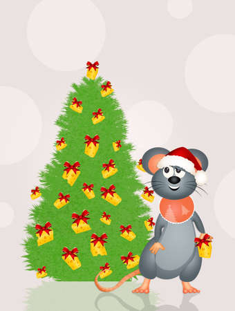 mouse decorates the Christmas tree with cheese