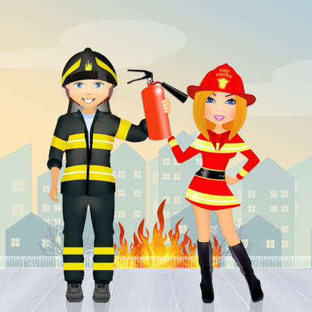 hot couple: Man and woman firefighters