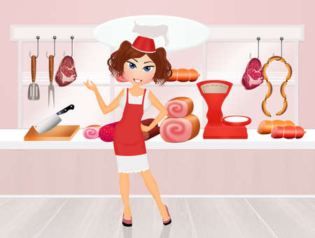 girl in Butchers shop