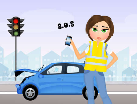 woman cellphone: Girl calls to roadside assistance Stock Photo