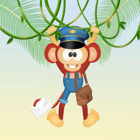 Nice postman monkey Stock Photo