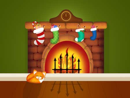 Kerst sokken op schoorsteen Stockfoto