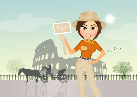 tour guide girl in Rome Stock Photo