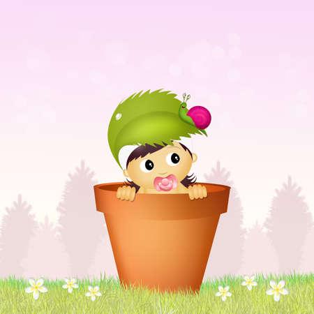 augury: baby female in the jar Stock Photo