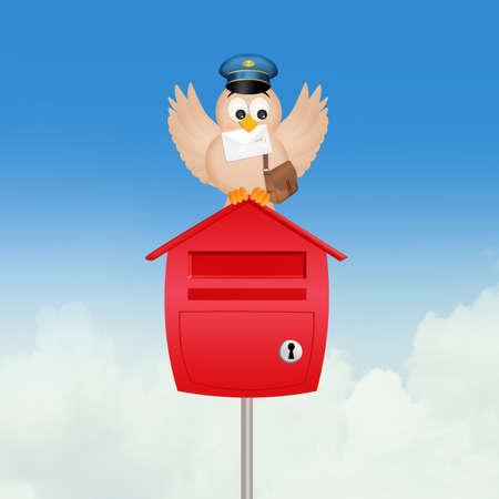 bird postman and mailbox