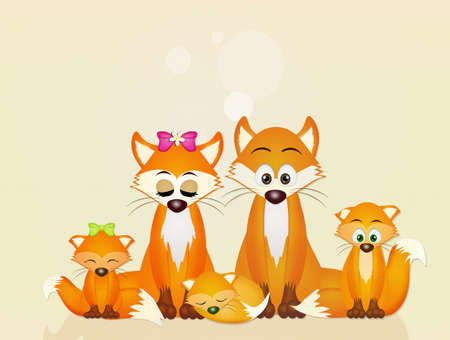 family of red foxes