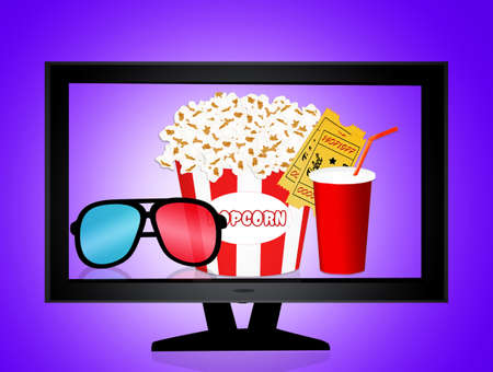 illustration of cinema objects Imagens