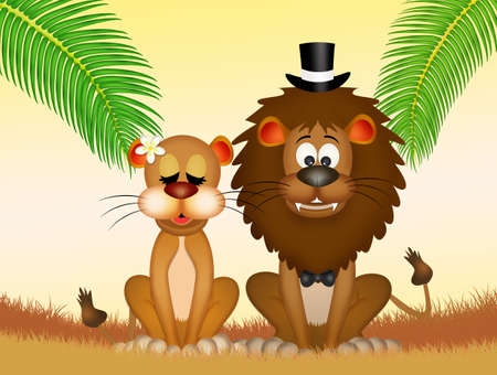 coupling: lions bride and groom