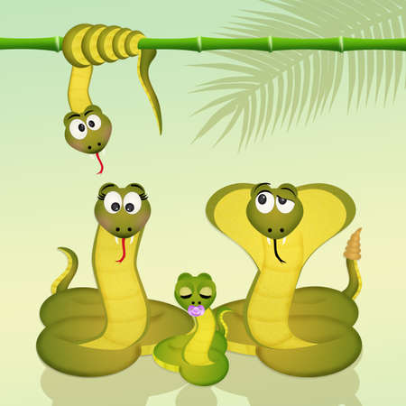 family of snakes Stock Photo