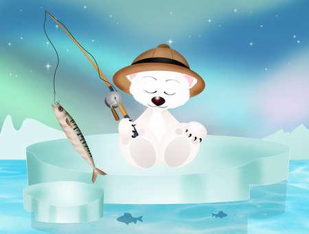polar bear fishing on iceberg
