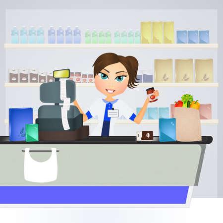 cute illustration of supermarket cashier