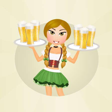 Oktoberfest Blondes Mädchen mit Bier Standard-Bild - 79182895
