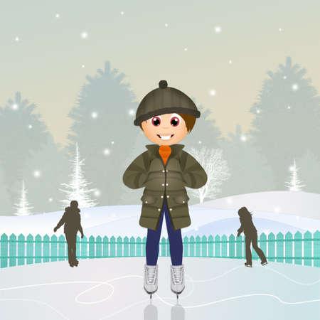 child on ice rink Stock Photo