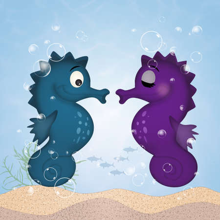 seahorses cartoon to the sea Stock Photo