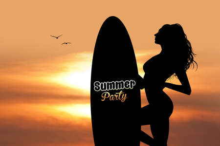 beach sunset: summer party with girl with surf
