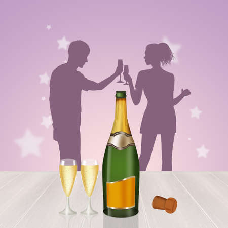 opening champagne bottle for the New Year Stock Photo