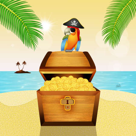 treasure chest and pirate parrot Stock Photo