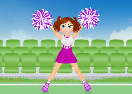 cheerleader with pom poms