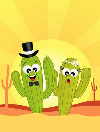 cactus in love in the desert