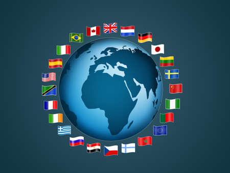 planisphere: flags of the world