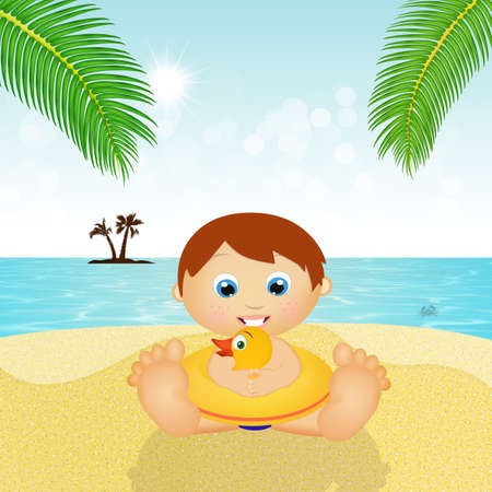 Baby with life buoy on the beach
