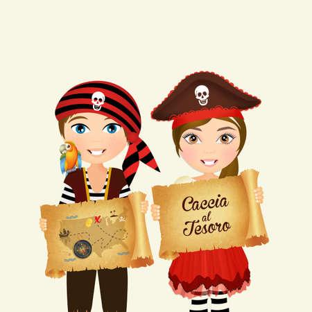 Enfants avec la chasse du trésor du trésor Banque d'images - 81004368