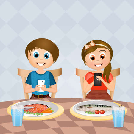 children with cell phone at table