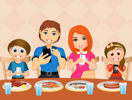 family  with cell phone at table
