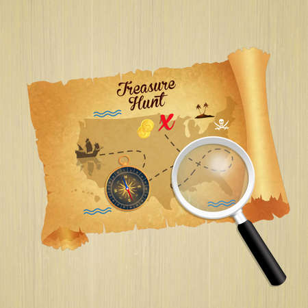 illustration of treasure hunt parchment