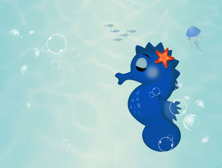 funny seahorse to the seabed